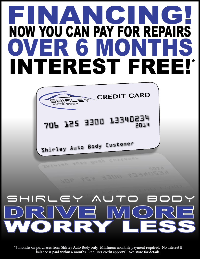 shirley auto body financing sign