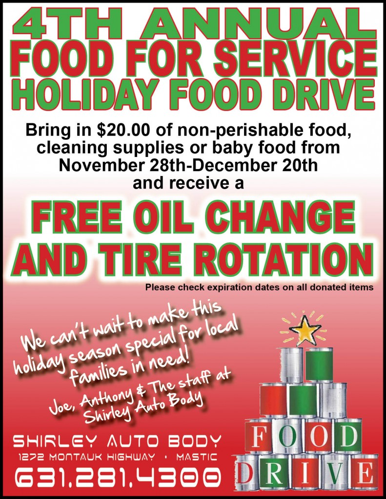 shirley auto body food drive 2014